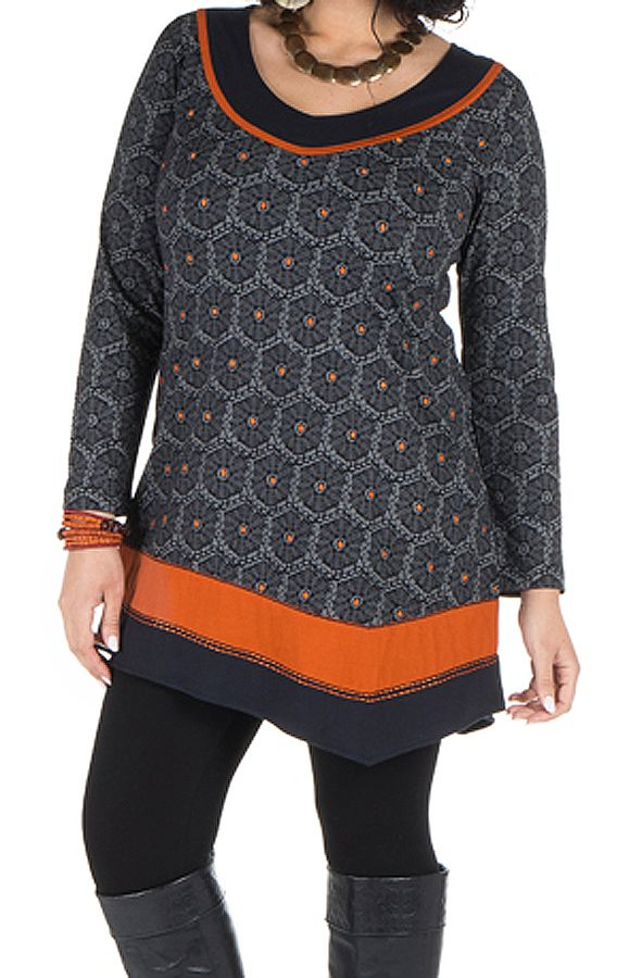 Robe size plus courte à manches longues Orange asymétrique avec détails brodés Nessy 301700