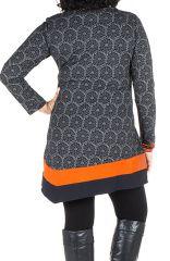 Robe size plus courte à manches longues Orange asymétrique avec détails brodés Nessy 301702