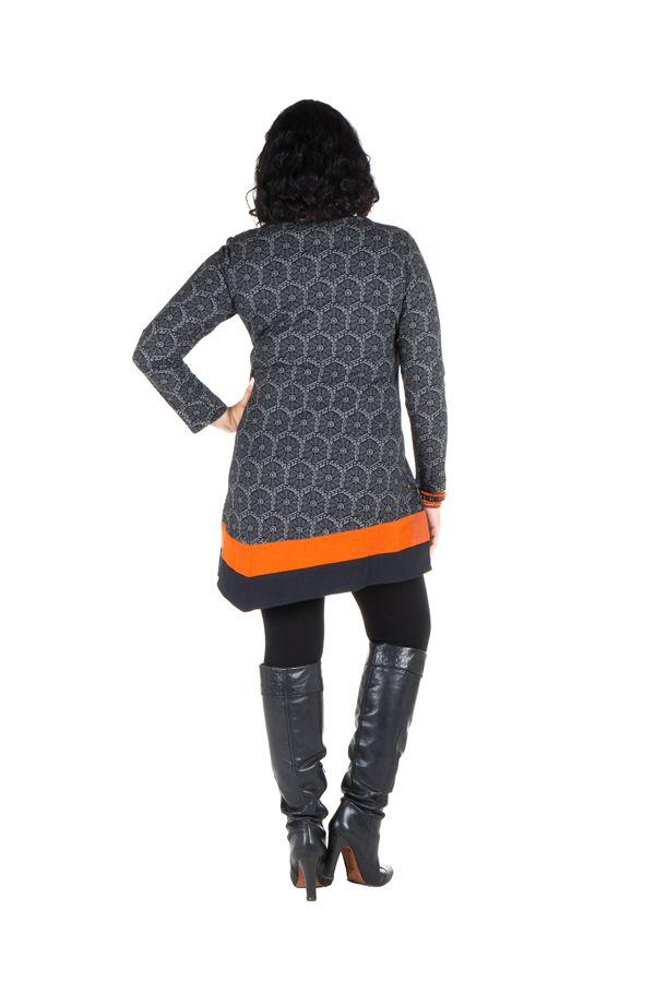 Robe size plus courte à manches longues Orange asymétrique avec détails brodés Nessy 301703