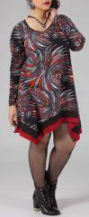 Robe trap�ze courte Ethnique et Originale Kacy Noire et Rouge 274880