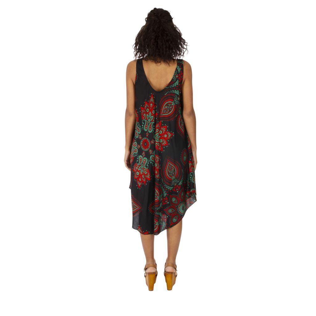 Robe trapèze de plage avec un imprimé sur fond noir Gladys 316996