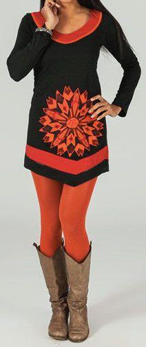 Robe/Tunique à manches longues asymétrique et colorée Noire/Orange Azilis 273765
