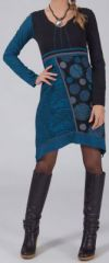 Robe/Tunique bleue � manches longues asym�trique Mirenda