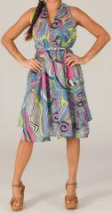 Robe Tunique d'été mi-longue Originale Figueira Grise et Bleue 280375