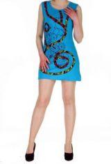 Robe tunique ethnique chic bleue Florie 268802