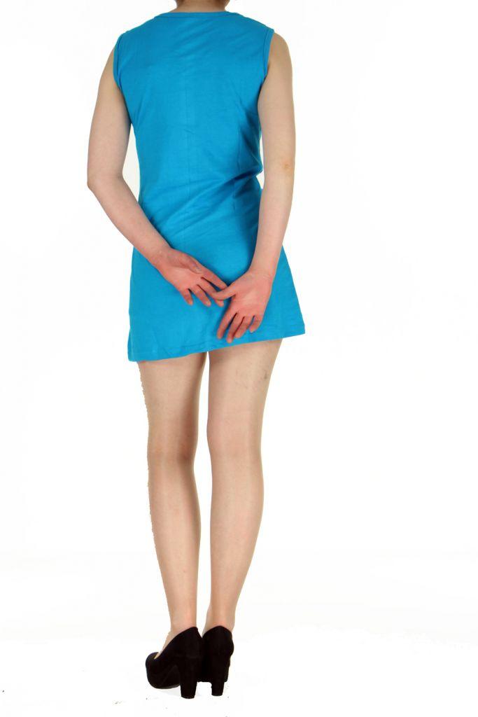 Robe tunique ethnique chic bleue Florie 268803