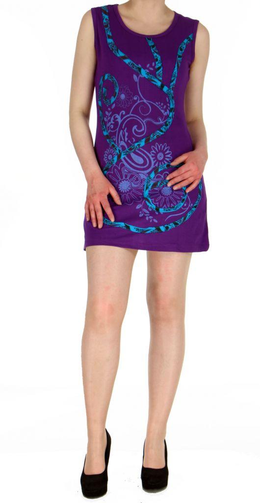 robe tunique ethnique chic violette florie. Black Bedroom Furniture Sets. Home Design Ideas