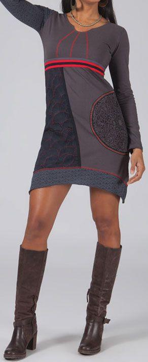 Robe/Tunique grise à manches longues ethnique Eliza