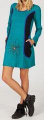 Robe turquoise ethnique et originale pas chère Alice