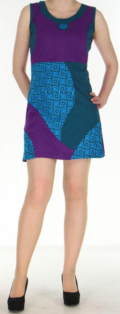 Robe violette courte colorée et ethnique en coton Dejame 270717