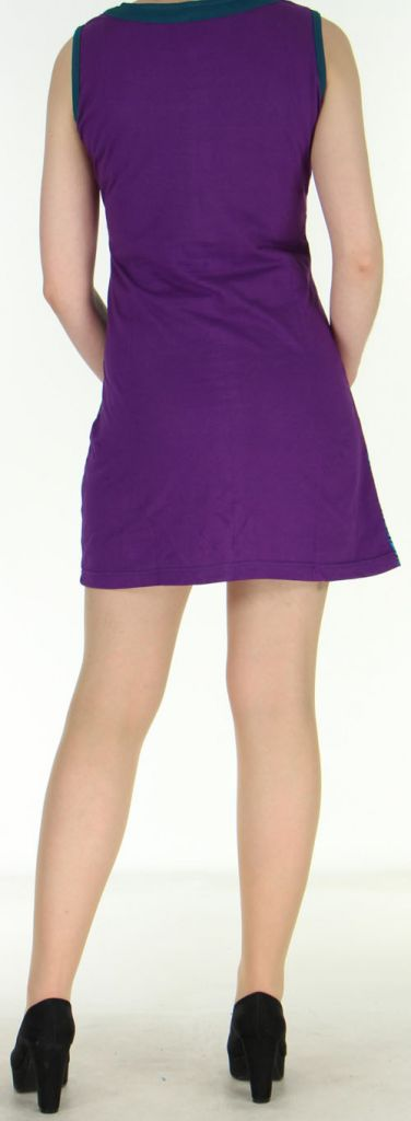 Robe violette courte colorée et ethnique en coton Dejame 270718