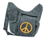 Sac � bandouli�re en cuir multipoches gris peace jaune 264673