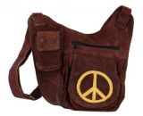 Sac � bandouli�re en cuir multipoches marron peace jaune 264713