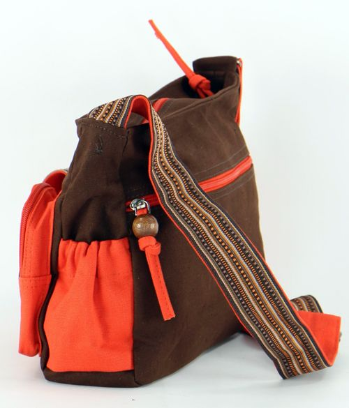 Sac femme Macha original marron et orange à bandoulière Spirale