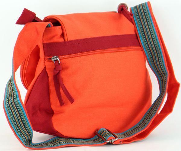 Sac Macha à bandoulière en Coton et Cuir Coloré Passo Orange 277707