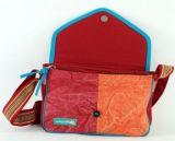 Sac Macha en cuir et coton tons rouge à bandoulière Rosace 271321