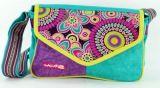 Sac Macha en cuir et coton turqoise et violet � bandouli�re Rosace 271323