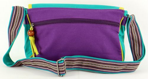 Sac Macha en cuir et coton turqoise et violet à bandoulière Rosace 271325