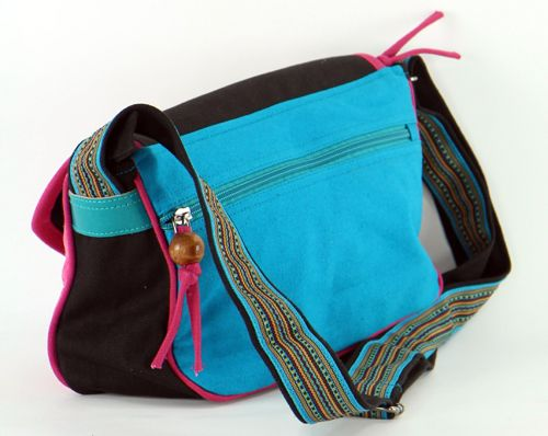 Sac Macha en cuir et coton turquoise et fushia à bandoulière Rosace 271327