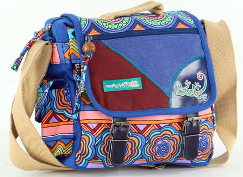 Sac Macha ethnique tons bleu à bandoulière Malino 271474