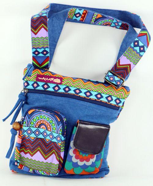 Sac Macha ethnique tons bleu à bandoulière Mandala 271291
