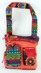 Sac Macha ethnique tons rouge � bandouli�re Mandala 271289