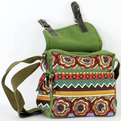 Sac Macha ethnique tons vert à bandoulière Malino