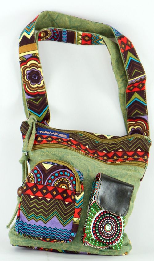 Sac Macha ethnique tons vert à bandoulière Mandala 271283