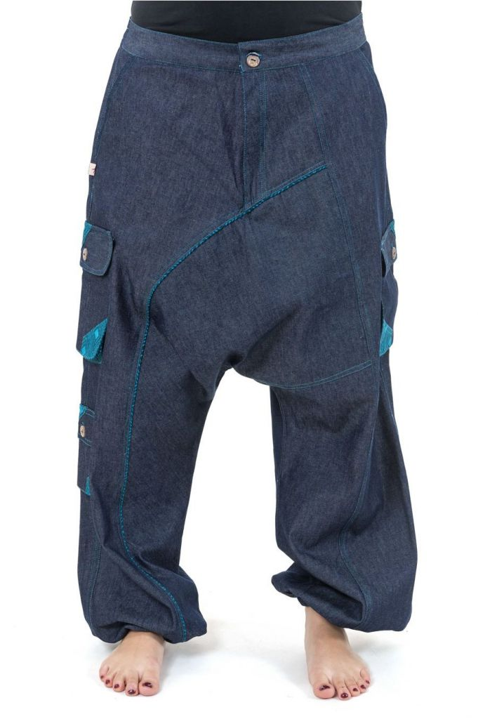 Sarouel ample pour homme ou femme mixte en jean Likoni 305508