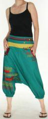 Sarouel court pour Femme Ethnique et Coloré Jessim Vert Pétrole 275430