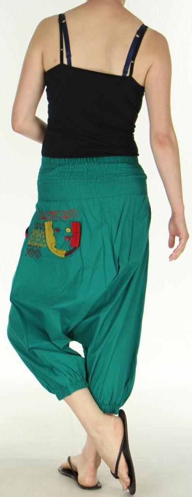 Sarouel court pour Femme Ethnique et Coloré Jessim Vert Pétrole 275431