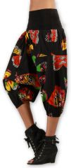 Sarouel court pour Femme Ethnique et Coloré Joddy Noir 277122