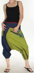 Sarouel court pour Femme Ethnique et Color� Kaelan Bicolore 275493