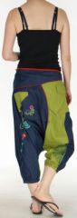 Sarouel court pour Femme Ethnique et Coloré Kaelan Bicolore 275494