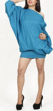 Sarouel d'été uni bleu pour femme 3en1 en coton Misha 271077