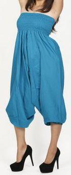 Sarouel d'été uni bleu pour femme 3en1 en coton Misha 271078