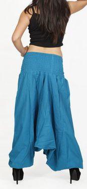 Sarouel d'été uni bleu pour femme 3en1 en coton Misha 271079