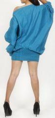 Sarouel d'été uni bleu pour femme 3en1 en coton Misha 271080