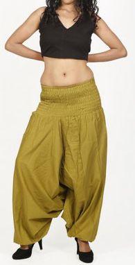 Sarouel d'été uni vert pour femme 3en1 en coton Misha 271058