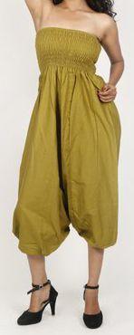 Sarouel d'été uni vert pour femme 3en1 en coton Misha 271059