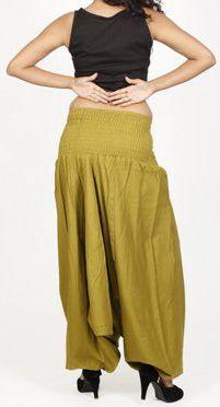 Sarouel d'été uni vert pour femme 3en1 en coton Misha 271061