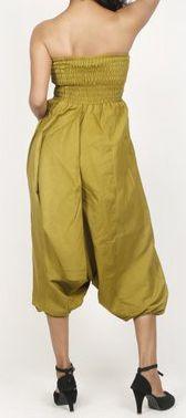 Sarouel d'été uni vert pour femme 3en1 en coton Misha 271062