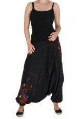Sarouel du N�pal brod� driks noir et rouge 263220