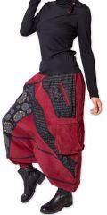 Sarouel en Velours pour femme Ethnique et Coloré Sepiks Rouge 276174