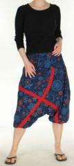 Sarouel �t� court femme ethnique original et imprim� Amaro Bleu/Rouge 272887