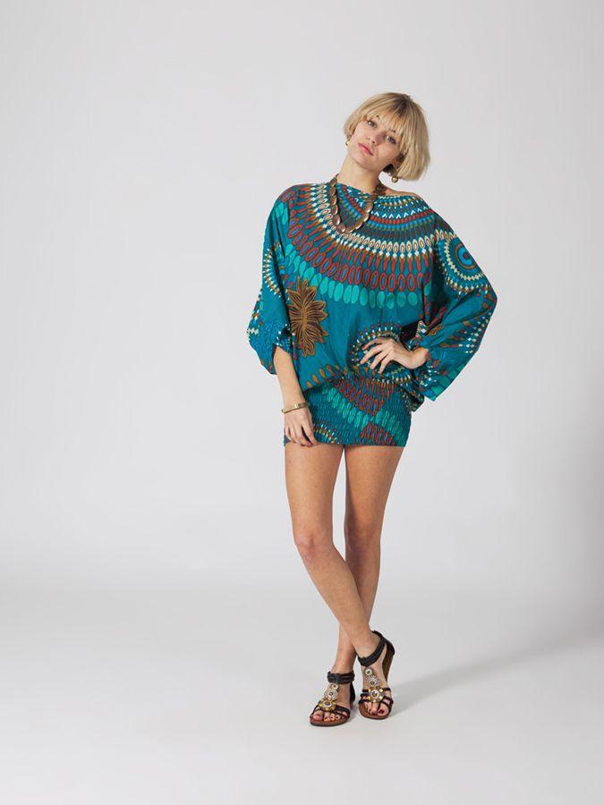 Sarouel ethnique bleu vêtement multifonctions 3 en 1 Yasmina 289401
