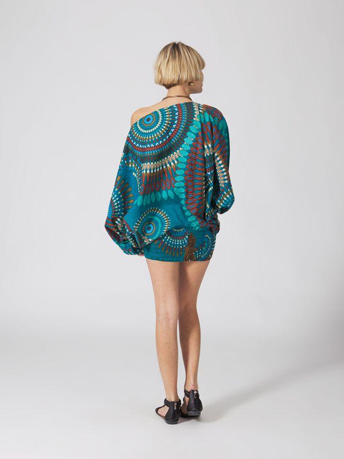 Sarouel ethnique bleu vêtement multifonctions 3 en 1 Yasmina 289402
