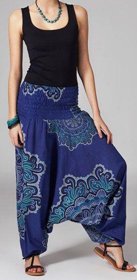 Sarouel ethnique de couleur bleu Lilly 269470