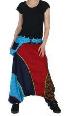 Sarouel ethnique inde julio bleu et rouge 261551