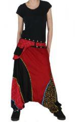 Sarouel ethnique inde julio noir et rouge 261549